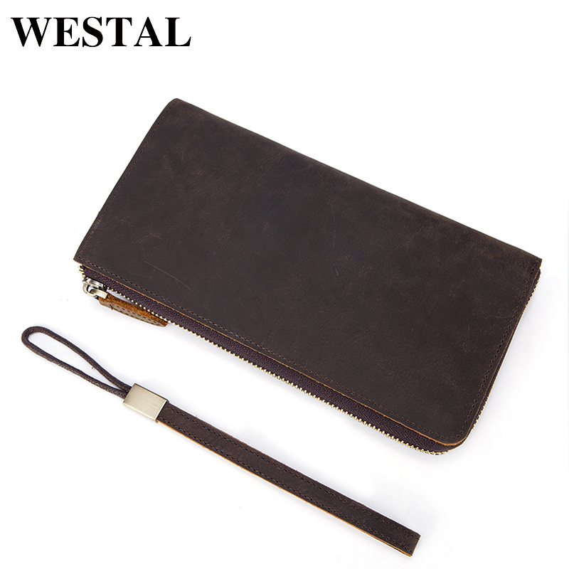 WESTAL genuine leather clutch bags men genuine leather wallet brand new high quality crazy horse leather men clutch wallet 2017 luxury brand men clutch cowhide wallet genuine leather hand bag classic multifunction mens high capacity clutch bags purses