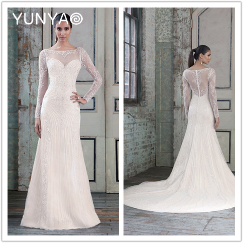 Top design beading beads long sleeves modest mermaid wedding dresses 2016 vestidos de noiva see through back bridal gown custom