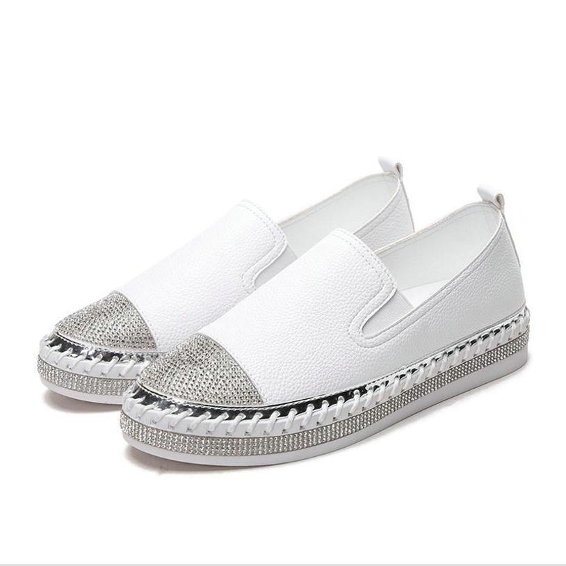 white 2018 Noir Mocassins Dames Blanc Black De Femmes École Printemps Chaussures Nouveau Plat Simples Strass Étudiant Mode 0wOZ8PkXNn