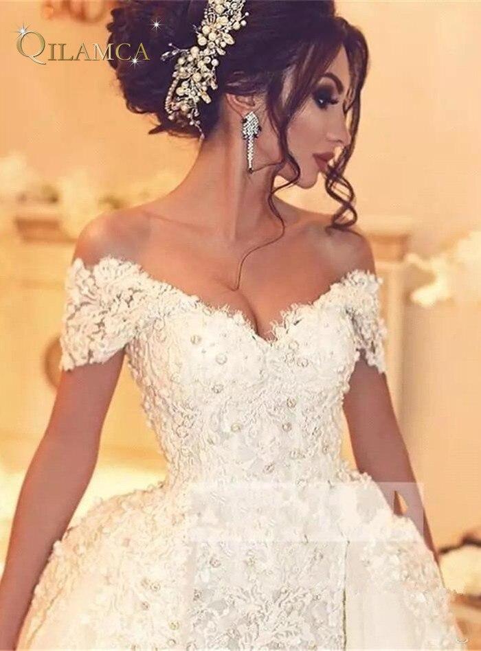 comprar vestidos de novia lujo con perlas encaje desmontable manga