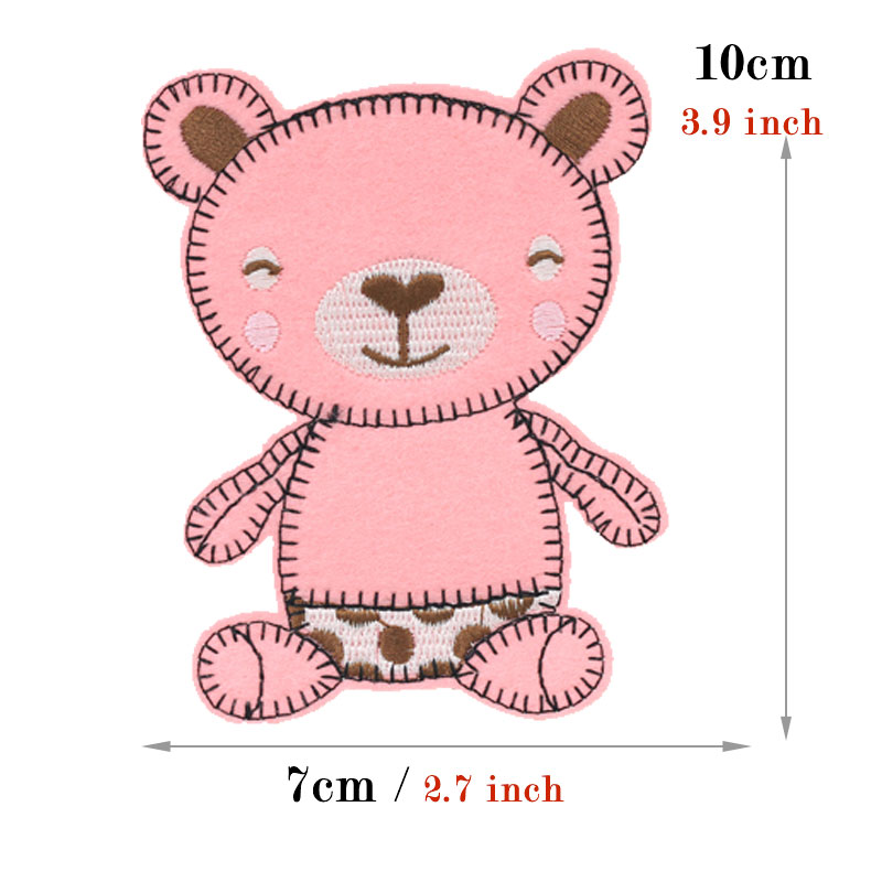 cute smile baby bear embroidery iron on patches for clothing bag hat scrapbooking DIY patch embroidered stickers fabric badges in Patches from Home Garden