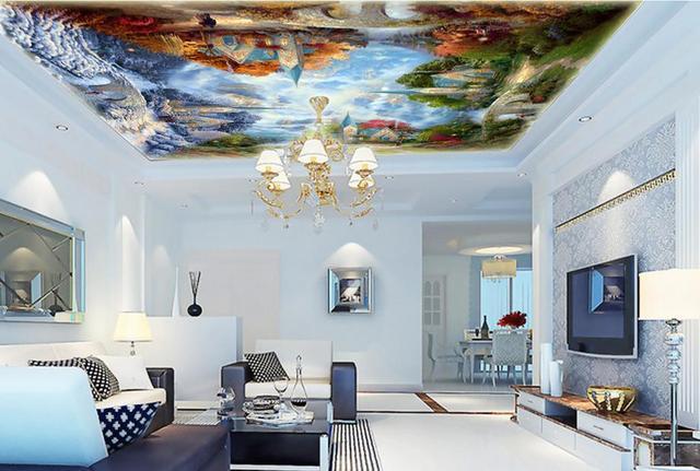 Woonkamer Behang Modern : Custom d moderne plafond muurschilderingen tuin kasteel d behang