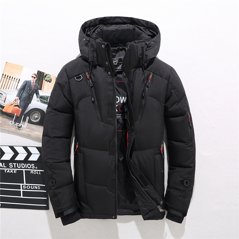2019 Men's Winter Snow Down Jacket Thick Warm Hooded Coats Casual Slim White Duck Down Jacket Waterproof Windproof Down Parkas