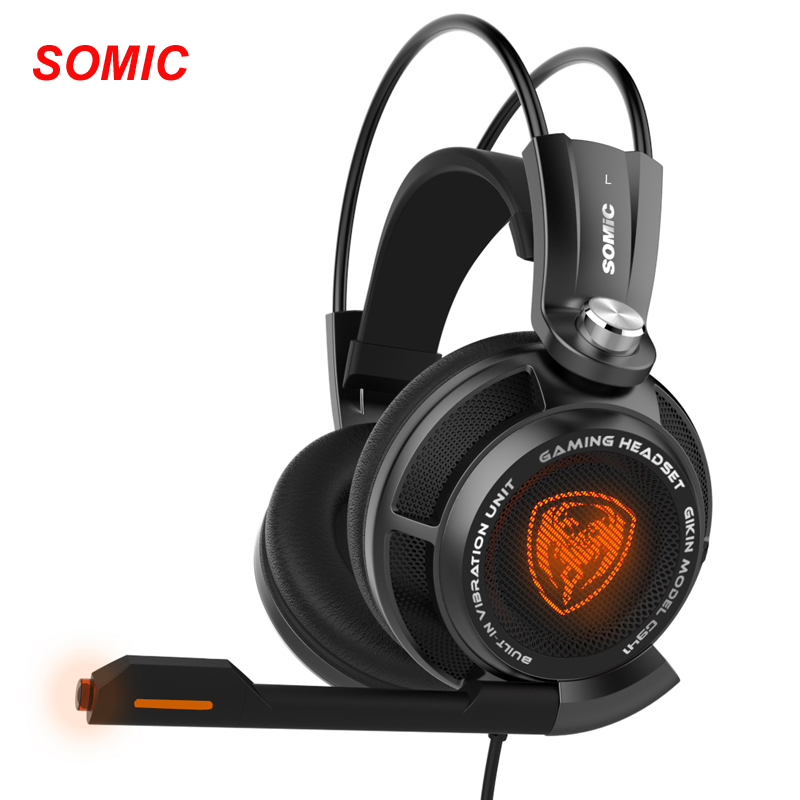 SOMiC G941 Original Headset 7.1 Virtual Surround Sound Headband Gaming Headphone with USB Vibrating Microphone LED Light