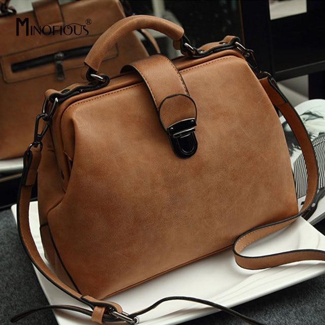 a2c39b6ee2e MINOFIOUS Women Genuine Leather Doctor Bag Fashion Casual Solid Lattice Handbag  Luxury Tote Bags Designer Matte Leather Bag