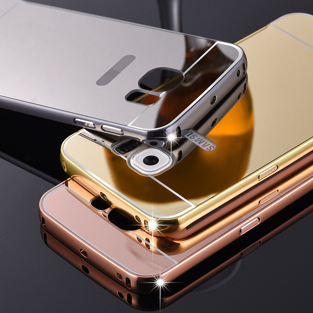 big sale a97a8 c1cc3 US $4.79 |for Samsung Galaxy S7 edge Aluminum Metal Frame Plating  Electroplating Mirror Case Hard PC Cover Rose Gold Phone cases CH711 on ...