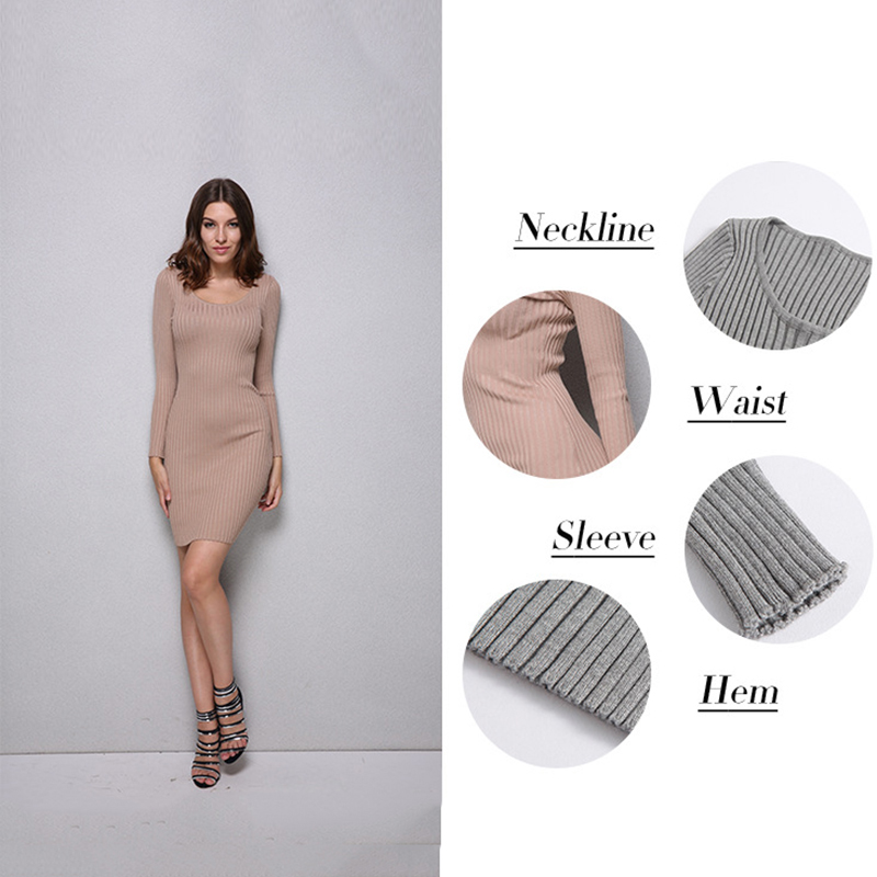 New Knitted Sweater Lengthen Tank Dress Sexy Women Summer Autumn Pocket Solid Ribbed Robe Femme Long-Sleeved Dress