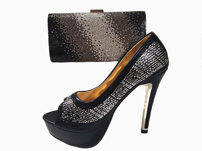 ФОТО Fashion Black Color Shoes and Bag To Match Italian Wedding Shoes and Bag High Heels Summer African Style Shoes and Bag Set JA112