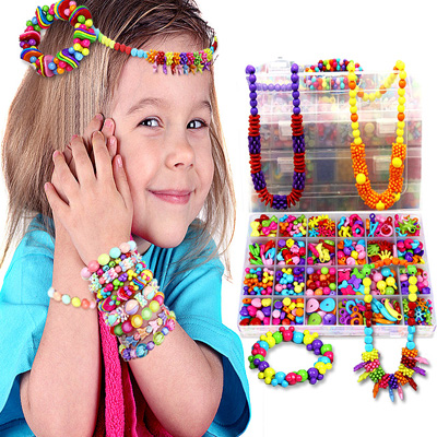 Colorful DIY Handmade String Beads Toy Set Jewelry