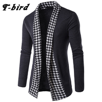 T Bird 2017 Brand Sweater Men Concise V Neck Sweater Male Houndstooth Slim Mens Cardigan Sweater