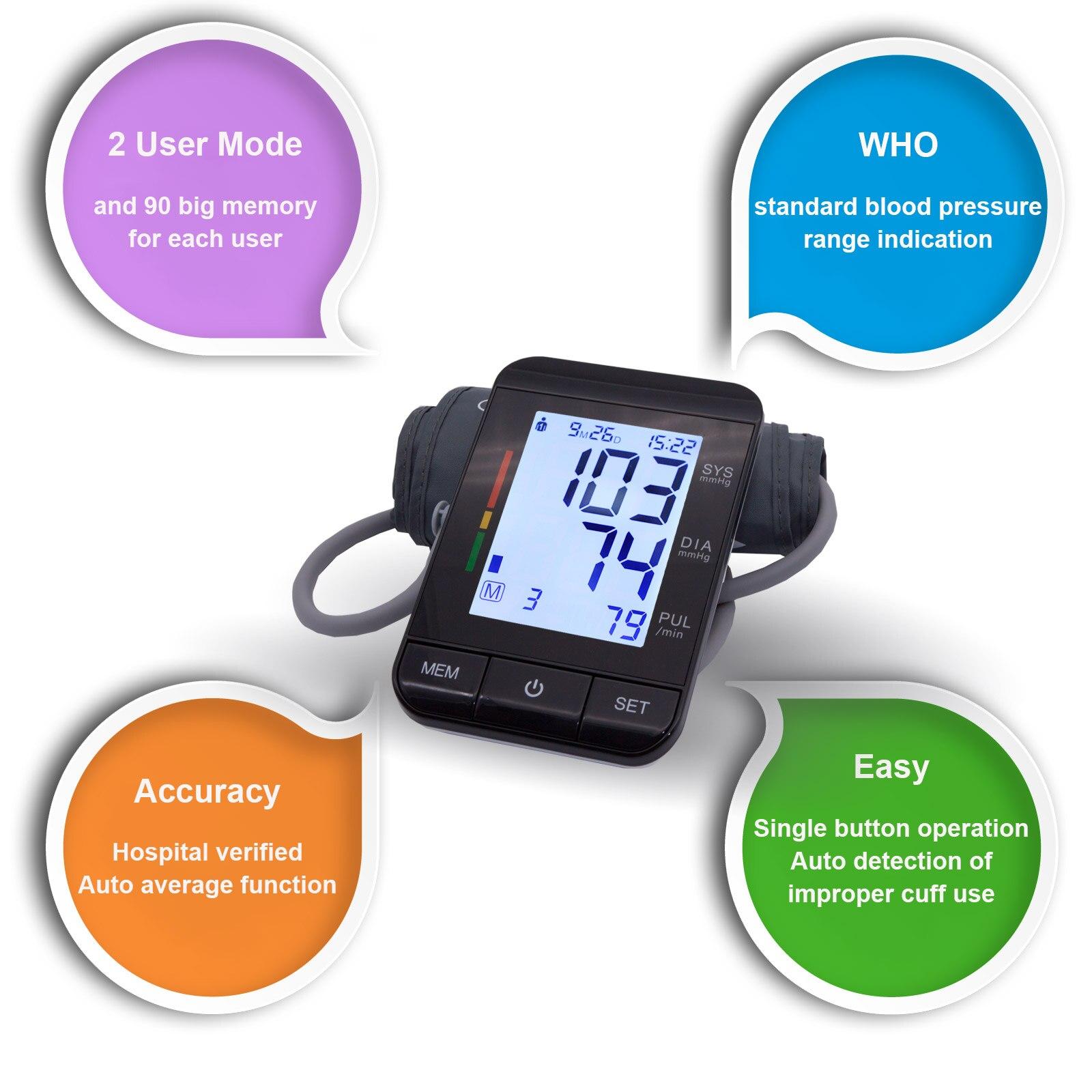 Auto Digitale Oberen Arm Blutdruck Monitor Große Manschette Heart Beat Meter Maschine Hause BP Gesundheit Pflege Antarestec PH20