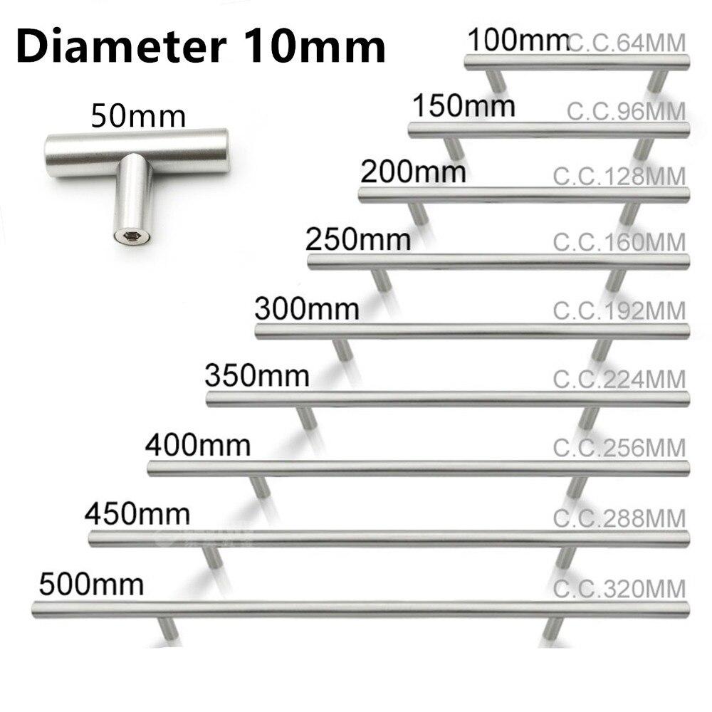 50 мм-500 мм Нержавеющаясталь дверца кухонного шкафа T бар круглая ручка для шкафа Мебельная ручка шкаф выдвижных ящиков ручка