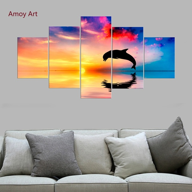 5 Panels Sunset Dolphins leap Wall Pictures for Living Room Decor ...