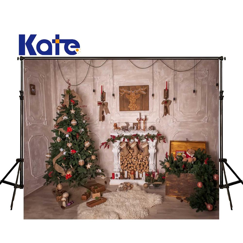 KATE Photography Backdrops Christmas Fireplace Photo Backdrop White Tapete Backdrops Wood Floor Background for Photo Studio