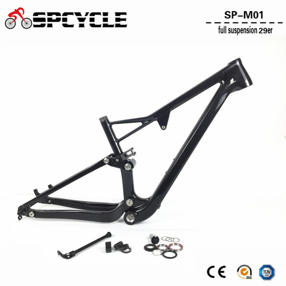 Spcycle 29er Full Suspension Carbon Mountain Bike Frame Disc Brake Carbon MTB Bicycle Frameset in Shock 165*38mm travel BSA BB 29er full suspension mountain bike toray carbon fiber mtb bicicleta bicycle frame ud matt bb92 165 38mm rear shock travel 110mm