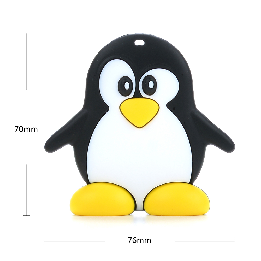 Penguin Silicone Teething Pacifier Baby Soother Pendant With Teether Soft T