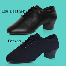 Men Standard Dance Shoe Salsa Tango Ballroom Latin Shoe Leather Canvas Napped Split Outsole Practice Competition