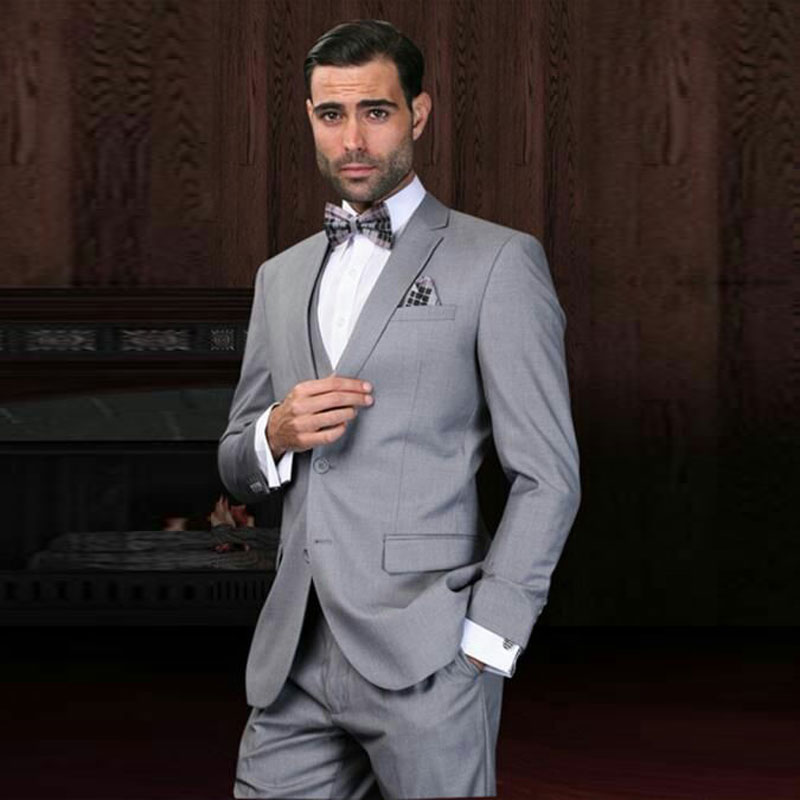 Vintage Grey Men Suits For Wedding Slim Fit Terno Masculino Best Man Blazer Custom Made Groom Tuxedos 3Piece Coat Pants Vest