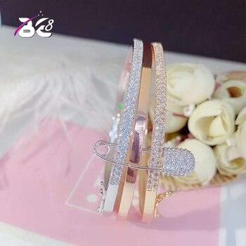 Pulseras y brazaletes cuadrados de cristal de circonia cúbica AAA de Color dorado a la moda para mujer de lujo Be 8 para regalo de fiesta, bisutería nigeriana B116