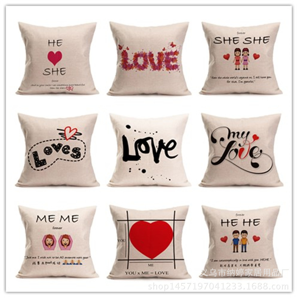 Car Throw Pillow Case Cotton Linen Sweet Lovers Romantic Love Letter Cushion Cover Decorative for Sofa Valentines Day Gift 44cm