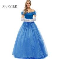 3PCS/SET Sky Blue Women Halloween Cosplay Adult Princess Cinderella Costume Sexy Adult Cinderella Costume Ladies' Fancy Dresses