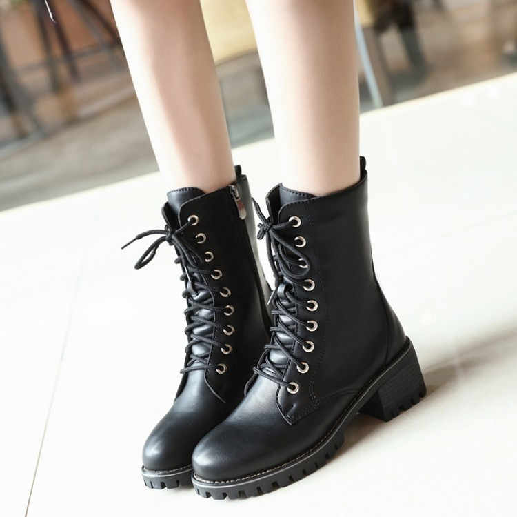 cfc4bc5e19681 ... PXELENA Retro Lace Up Low Heel Riding Knight Boots Women Casual Comfort  Knee High Military Martin ...