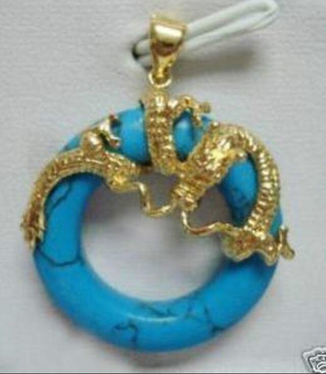fancy blue circle jewerly dragon pendant