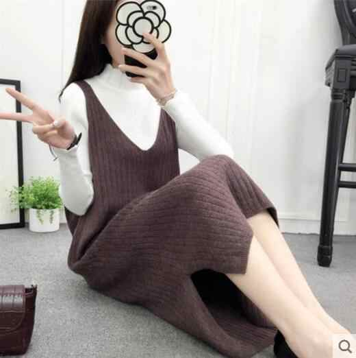 Fdfklak femmes coréennes robe en tricot sans manches robes de gilet décontracté femme vestido 2018 nouvelle robe en laine printemps lâche robe d'automne