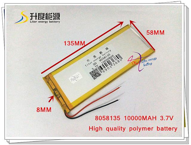 3.7 V, 10000 mAH 8058135 bateria De Polímero de iões de lítio/bateria Li-ion para tablet pc, telefone celular, telefone celular PODER BANCO