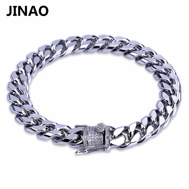 JINAO Hip Hop New Style Gold Color Iced Out Bling Jewelry Bracelet Micro Pave CZ Stone Link Bracelet For Men Christmas Gift
