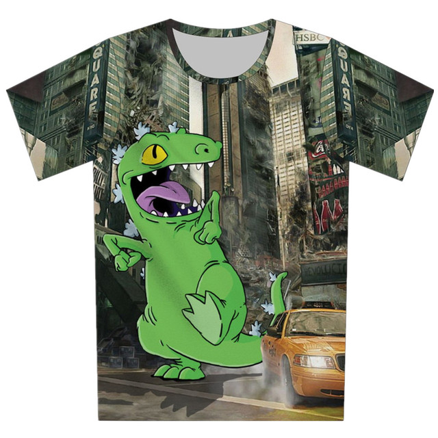 2016 летний новый мультфильм зеленый динозавров майка детей с коротким рукавом мода 3D футболка деньги тигр галактики созданием тройник