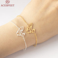 ACEBFEET Handmade Origami Squirrel Bracelet For Women BFF Jewelry Gold Silver Chain Pulseira Cute Animal Tattoo Hand Link