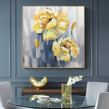 100% Hand Painted Abstract Golden Flowers Painting On Canvas Wall Art Adornment Pictures For Live Room Home Decor