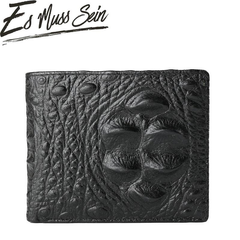 EsMussSein Wallet Genuine Leather Pockets Portfolio Vintage Crocodile Head Purses Credit Card Holders Dollar Wallet Clutch Purse