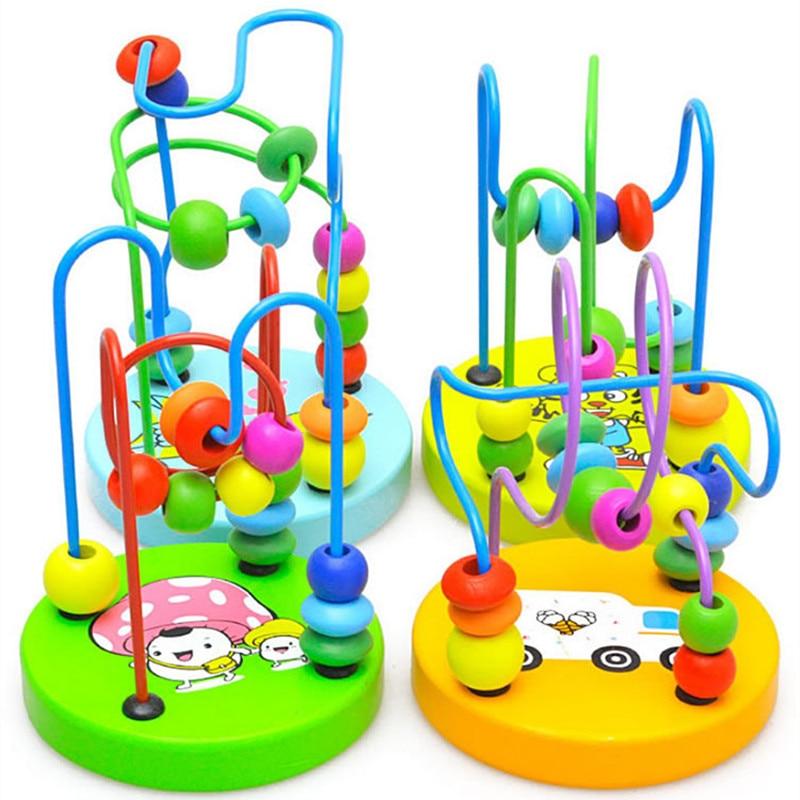 1 шт. монтессори игрушка для маленьких Цвет ful деревянные Мини Вокруг Бусины детей обучение образование разные цвета