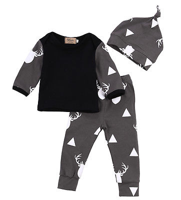 toddler Newborn infant Baby Girls Boy Clothes Sets Deer Animals Long Sleeve Tops T-shirt Pant Casual Hat 3pcs Outfits Set Autumn