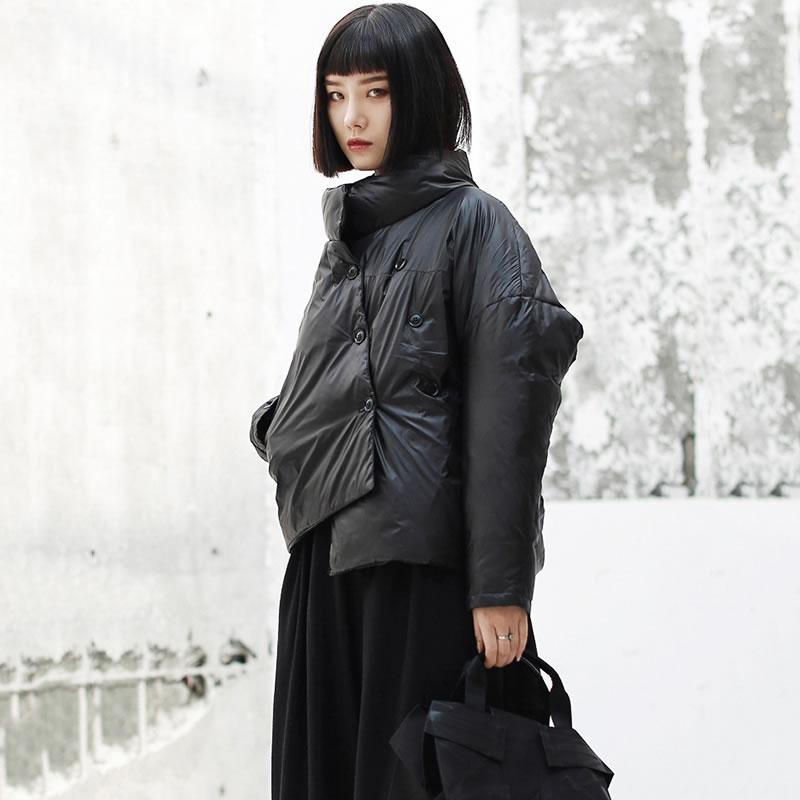 De xitao Le Corée Manches Asymétrique Zll2454 Couleur Manteau Femmes Mode Nouveau Bas Cauasl Black Pleine 2018 Double Boutonnage Vers Automne Solide aXaqw