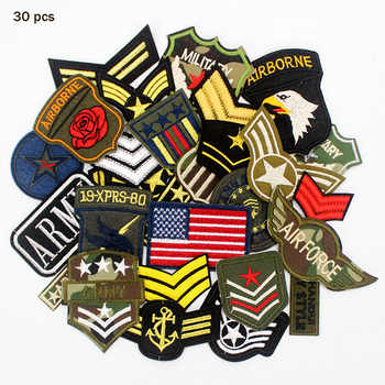 30pcs/set Mixed Troops Army Patches Badge Military Embroidery patch iron on for clothes Jacket Jeans Applique - Category 🛒 Home & Garden