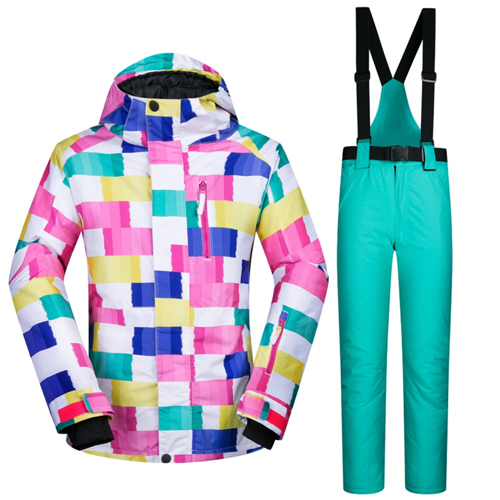 -30 Degree Warm Enough Winter Female Ski Suit Waterproof Breathable Skiing Snowboarding Jackets and Pants Set women ski clothes 2017 women winter new ski clothes wind waterproof breathable thick warm female ski and snowboarding outdoor sports jacket coat