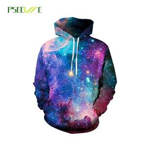 PSEEWE Hoodies Space Galaxy Sweatshirt 3D Hoodie Hip Hop Coat Casual Streetwear Fashion Hat Sweatshirt Men Women Brand Clothing