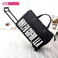 HEMAOZHU New Hot Fashion Women's Trolley Luggage Suitcase Brand Casual Roll Folding Boarding Suitcase Travel Bag Wheeled Luggage