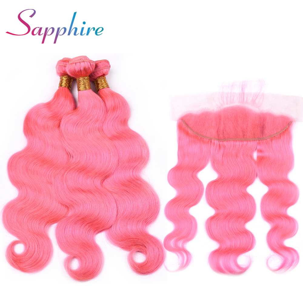 Sapphire Brazilian Human Bundles Pink Color With Lace Frontal 3 Bundles Hair with 13*4 Free Part Lace Frontal Human Hair Weave