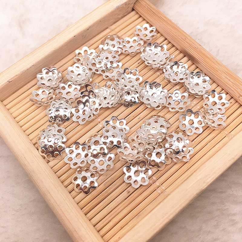 500pcs/lot 6mm Silver Gold Plated Hollow Flower Petal End Spacer Beads Caps Charms Bead For Jewelry Making Accessories