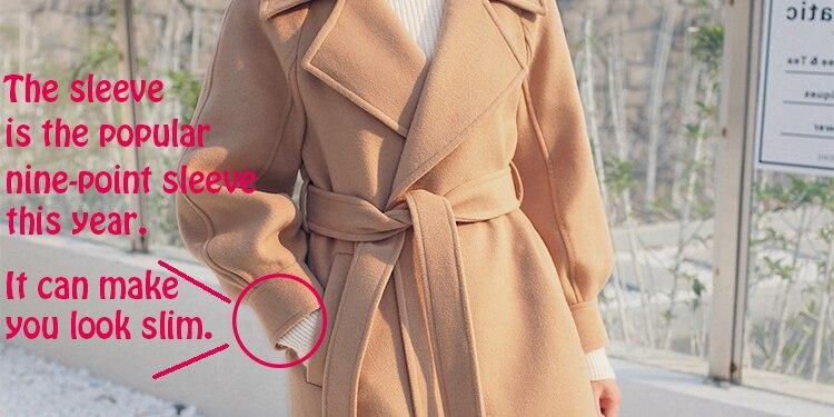 Plus Size Loose Warm Wool Blends Long Winter Coat Turn-down Collar Adjustable Belt Wool Coats Women Office Work Wear Elegant 2