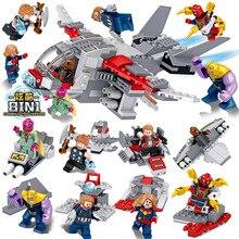 8pcs Marvel Avengers  Dc Super Heroes Surprise captain Thanos Building Blocks Action Movie Figures Toys Compatile