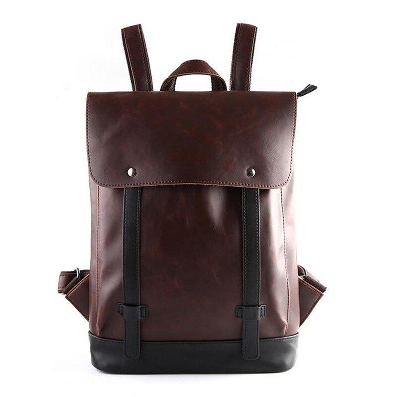 2017 Vintage Men PU Backpacks For Teenage Girls School Bags Large High Quality New Fashion Men Backpack Popular Computer Bag