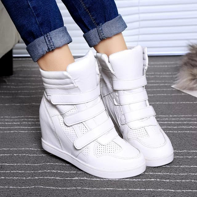 885bf4f6f0f5 Detail Feedback Questions about White Leather Women Boots Height Increasing  Women Sneakers Breathable Wedges Female Sport Shoes Trainer Beckett Sneakers  ...