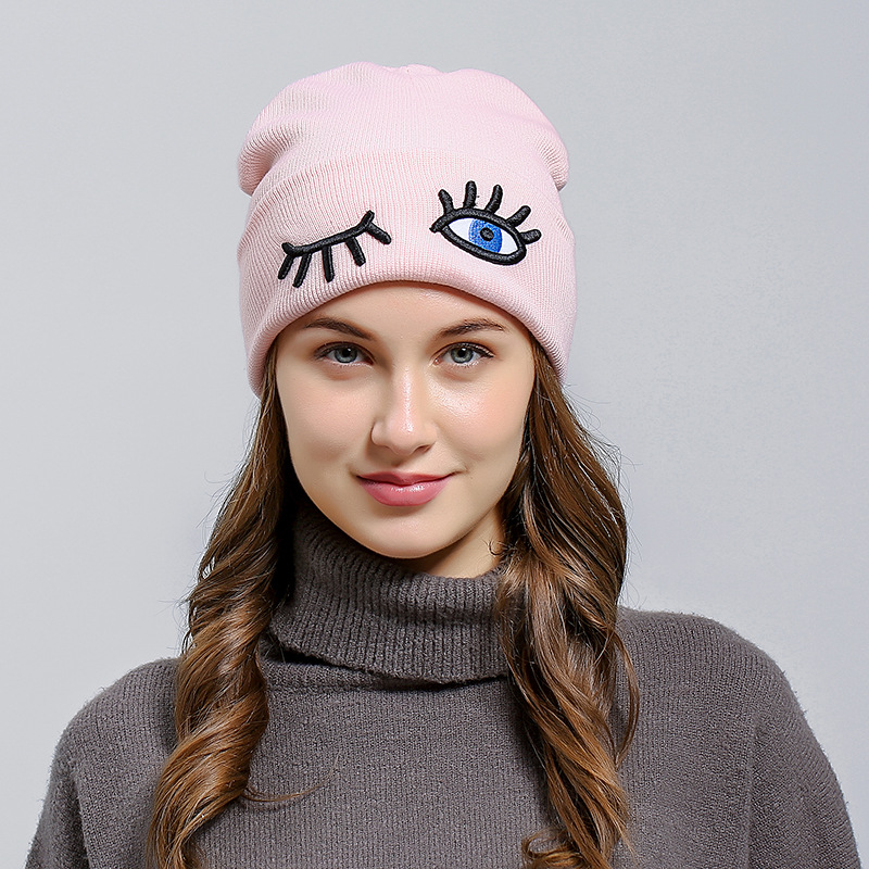 Pink   Beanie   Winter Hat with Eyes Knitted Hat For Women Winter Bad Hair Day Hip Hop Caps Knit Hats Female Male   Skullies     Beanies