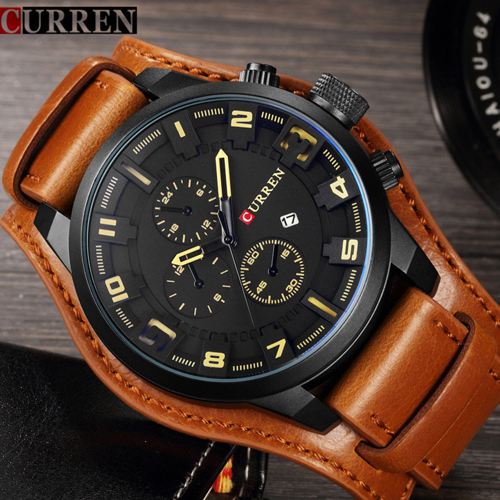 Men's Watches Fashion Luxury Brand CURREN Military Quartz Sports Mens Watch Casual Leather Wristwatches Male Clock Montre Homme
