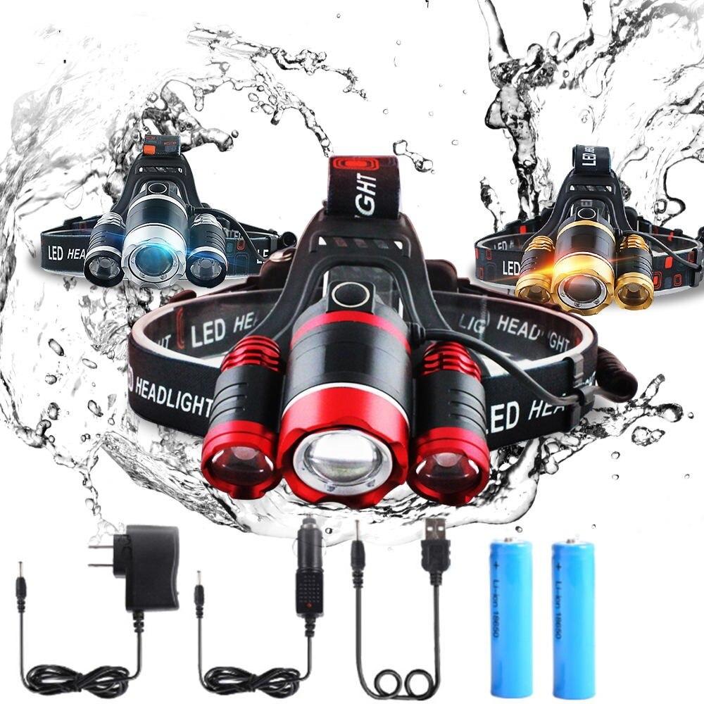 Hohe qualität 15000 Lumen Scheinwerfer LED Scheinwerfer 3 * T6 Zoom Scheinwerfer Kopf Lichter Lampe + 2*18650 Batterie + AC/Auto/USB Ladegerät